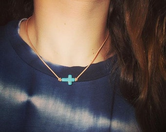Turquoise Cross and Leather Necklace