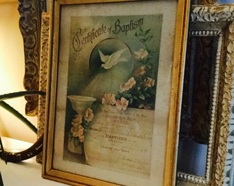 Antique framed Certificate of Baptism from 1900