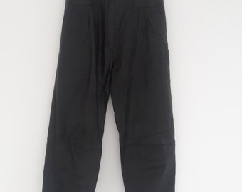 Vintage 80s High Waist Tapered Black Leather Trousers [UK 8-10]