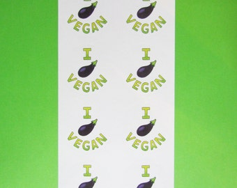 I Eggplant Vegan Stickers - pack of eight