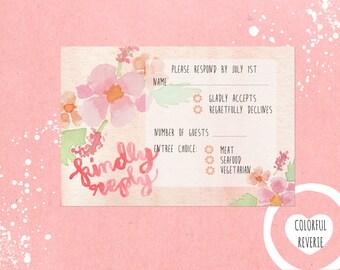 Printable Peach Floral Watercolor Response Card