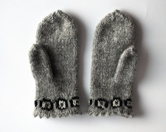 heather grey mittens with monochrome geometric floral pattern on edge hand knitted wool mittens