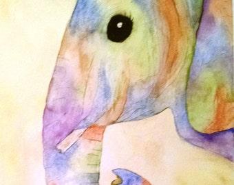 X, Ellie Elephant colorful original watercolor