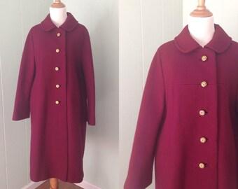 1950s/1960s Penn Craft Coat | 50s/60s Burgundy Wool Jacket | Vintage Dark Red Swing Coat