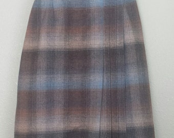 Wrap around blue and plaid brown skirt.