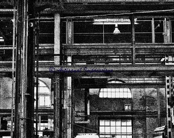 factory photo, industrial print, factory industry, factory salvage art, industrial wall art, industrial era, black and white, architecture