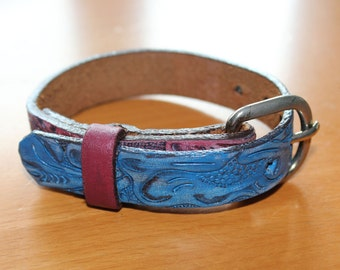 upcylced/recycled tri-color bracelet with buckle