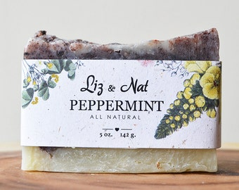 Peppermint Soap - All Natural Soap, Handmade Soap, Scented Soap, Hot Process Soap, Vegan Soap, Organic Soap, Cruelty-Free Soap