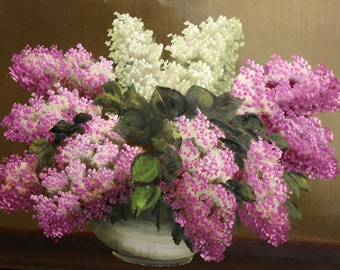 Vintage oil painting still life flowers lilac