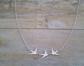 Birds necklace, hand made, sterling s