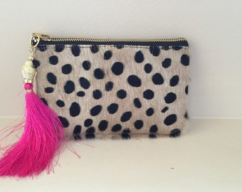 Hair on Leather wristlet