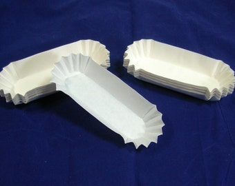 100 Hot Dog Trays Medium Weight Fluted Paper, Eclaire, Corn Dog, Snack, Standard Length, Quick Shipping