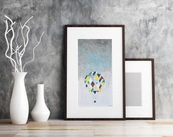 Wall Art Giclee Print Tall Large Hot Air Balloon Geometric Contemporary Prints Livingroom Print Office Decor Bedroom New Baby Art Gift