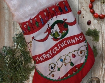 Dr. Seuss Inspired Grinch Christmas Stocking With Fur Trim