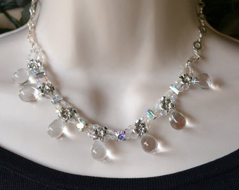 Crystal Swarovski teardrops choker with strass