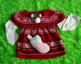 3t Ugly Christmas Sweater, kids, toddlers, girls, stocking, Pink, red