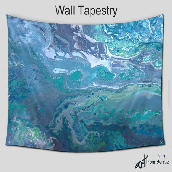 wall hanging tapestry teal blue gray abstract decorative. Black Bedroom Furniture Sets. Home Design Ideas