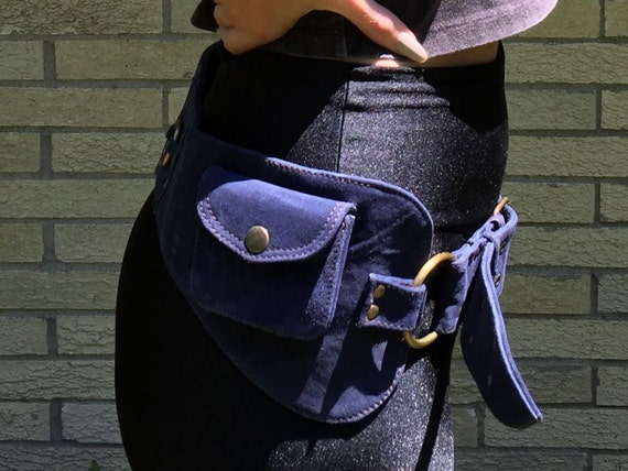 Blue Suede Waist Pouch, Leather Fanny pack, Utility belt, Pocket Belt, Bum Bag, Festival Wear, Money Belt, Travel Pouch, Gypsy, Hippie, Boho