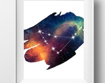 Capricorn constellation print, capricorn art, capricorn zodiac, constellation art, astrology print, capricorn wall art, january birthday