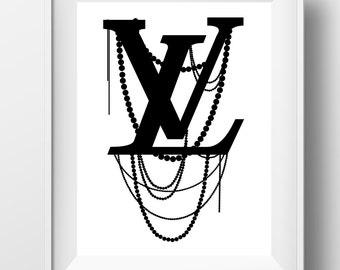 Louis Vuitton art, Louis Vuitton logo, louis vuitton print, fashion print, fashion wall art, instant download, louis vuitton decor, lv print
