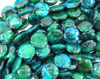 """16mm blue green chrysocolla coin beads 15.5"""" strand 32342"""
