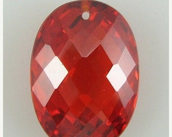 40% CLEARANCE 18mm faceted CZ cubic zirconia oval pendant red 2453