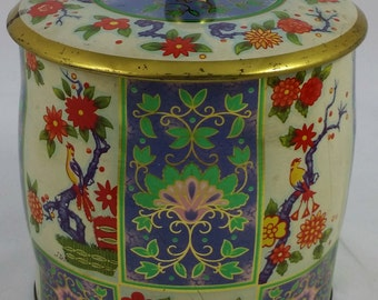 Beautiful Vintage English Floral and Finch Tea Tin