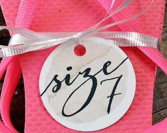 Flip Flop Size Tags - For Wedding Favors, Beach Weddings, Watercolor Background