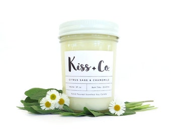 Citrus Sage & Chamomile Soy Candle - 8oz Hand Poured