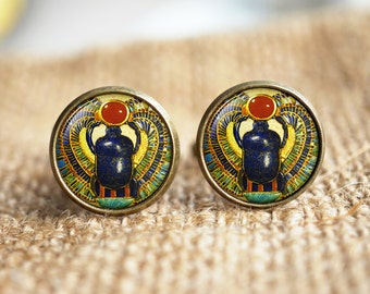 Egyptian Scarab Cuff links, ancient egypt jewelry, Egypt Cuff links, Egyptian jewelry, Scarab Cuff links, Historical Cuff links