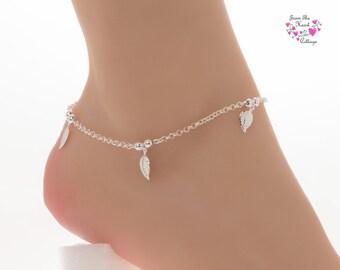 Anklet, Silver Leaf Anklet, Adjustable Anklet, Women's Gift, Wedding, Beachwear