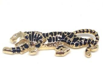 Gorgeous Vintage Black Enamel Cheetah Panther Tiger Gold Tone Brooch