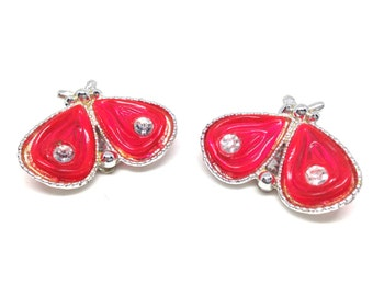 Stunning Vintage Estate Rhinestone Red Cab Butterfly Clip Back Earrings