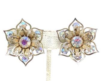 Dazzling AB Rhinestone Flower Gold Tone Vintage Estate Earrings
