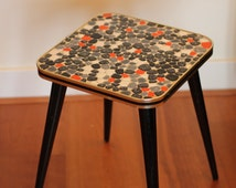 Mid century mosaic side table / plant stand / coffee table / flower stool / retro vintage