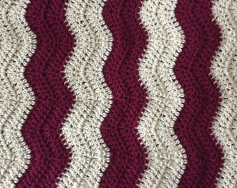 Crochet ripple berry and cream baby blanket