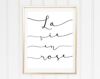 La Vie En Rose Printable Poster // Printable Quote // Printable Lyrics