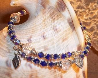 Deep Blue & Clear Swarovski Crystal And Tibetan Silver Hand Crafted Wrap Bangle Bracelet