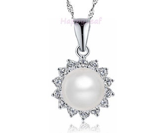 """10-11 mm White Freshwater Pearl 925 Sterling Silver CZ Pendant Necklace Chain bridal 18"""""""