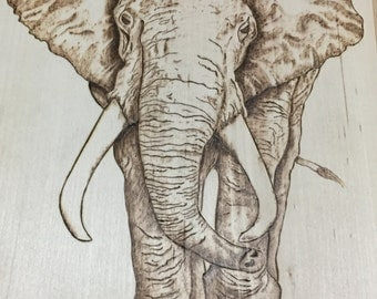 Woodburned elephant