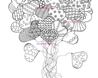 Adult Coloring Page - Heart Balloons - Hand Drawn - Printable Instant Download