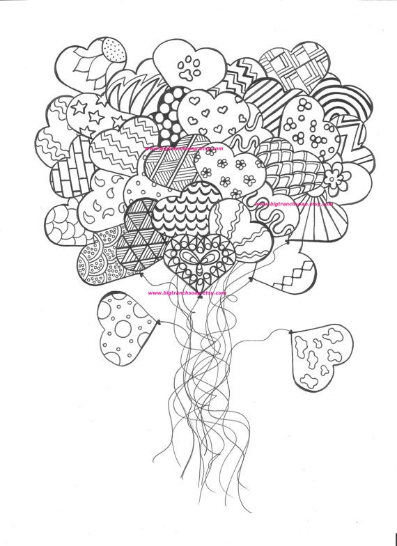 Items similar to Adult Coloring Page Heart Balloons