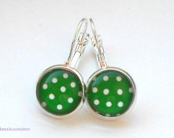 Cabochon dots earrings silver * green * blue earrings