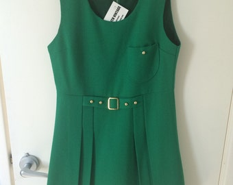 Vintage 1960s Green A-Line Pleated Mini Dress Size 10