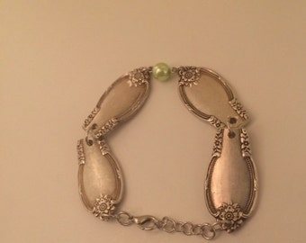Silver Spoon Handle Bracelet with Light Green Bead.