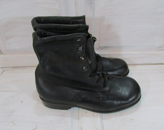 Vintage Combat Boots,  Vintage Boots, Military Combat Boots,  Vintage Black Ankle Boots,  Black Boots,  Military Combat Shoes, Vintage shoes