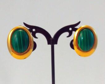 Large, Vintage, Malachite earrings, 80s earrings, vintage earrings, green earrings, Malachite clip on earrings, vintage Malachite jewelry,