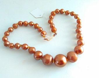 vintage, 50s, bead necklace, bronze plastic necklace, bead necklace, bronze necklace, vintage necklace, kitsch necklace, vintage necklace