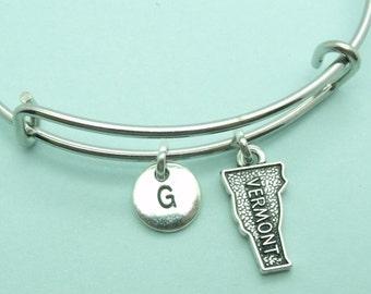 Vermont charm bangle bracelet, personalised initial bangle, letter, personalised charm,