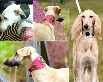 Leather dog collar FLOWER POWER